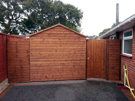 Gate and panels made to match shed